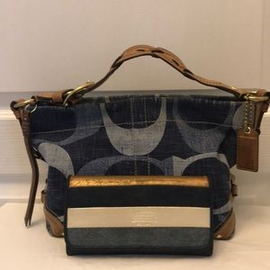 Coach blue jean purse and wallet